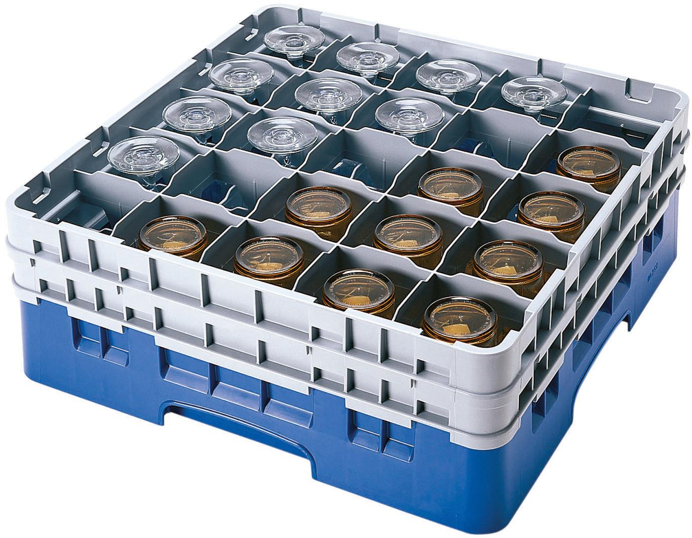 Gläserspülkorb 25 x bis 238 mm Glashöhe 500 x 500 x 267 mm blau