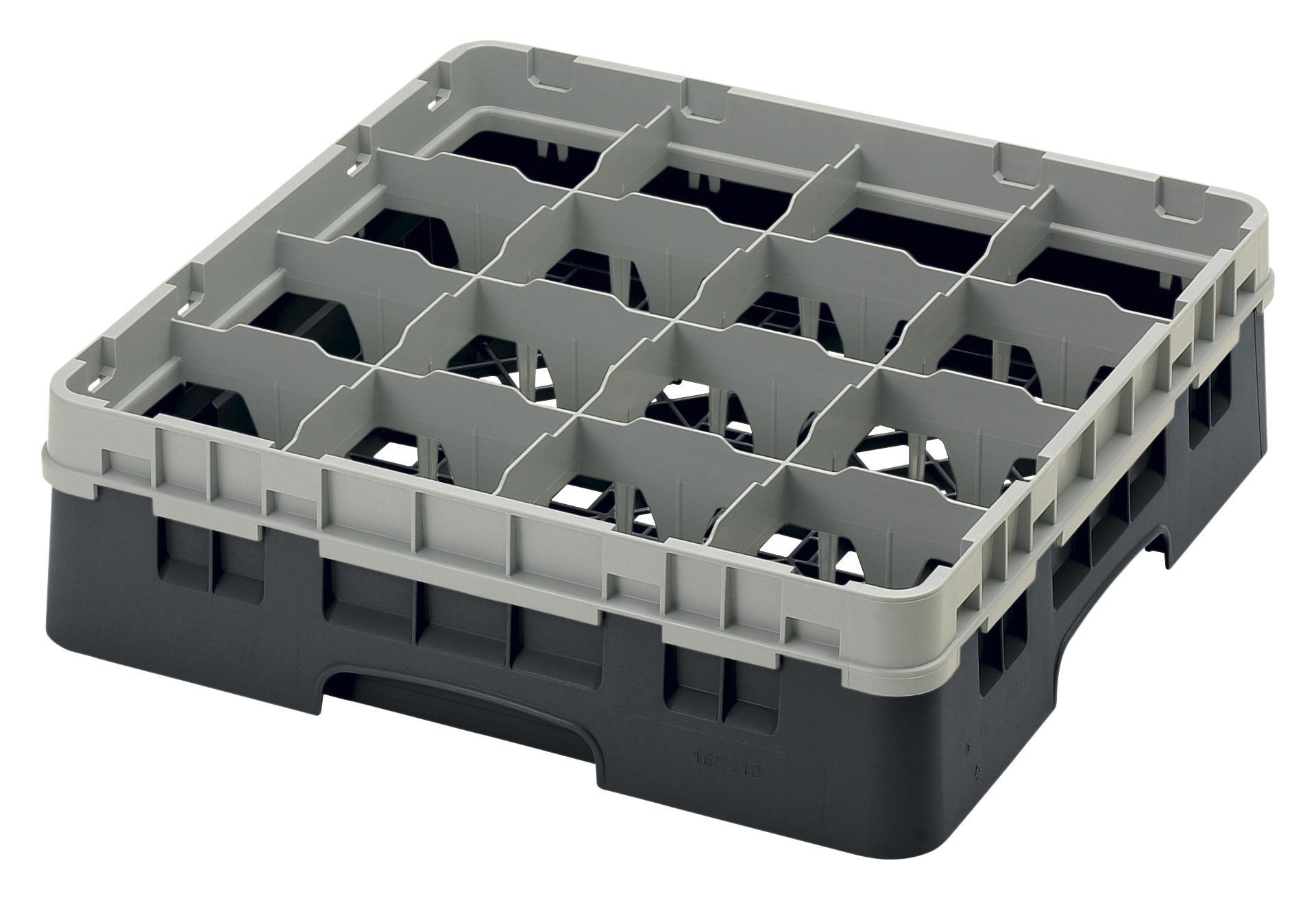 Gläserspülkorb 16 x bis 114 mm Glashöhe 500 x 500 x 143 mm schwarz