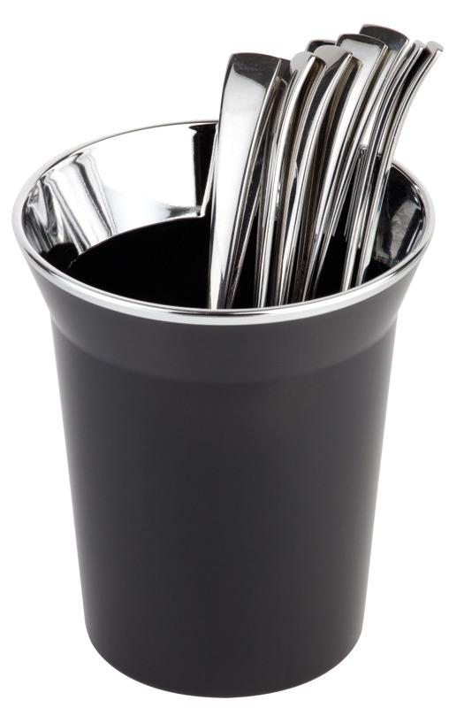 Tischreste- / Besteckbehälter 1,00 l mit verchromten Rand schwarz