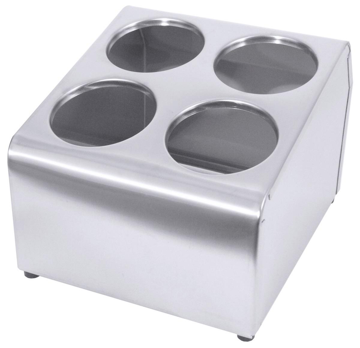 Besteckbehälter für 4 Besteckköcher 260 x 300 x 200 mm seidenmatt poliert