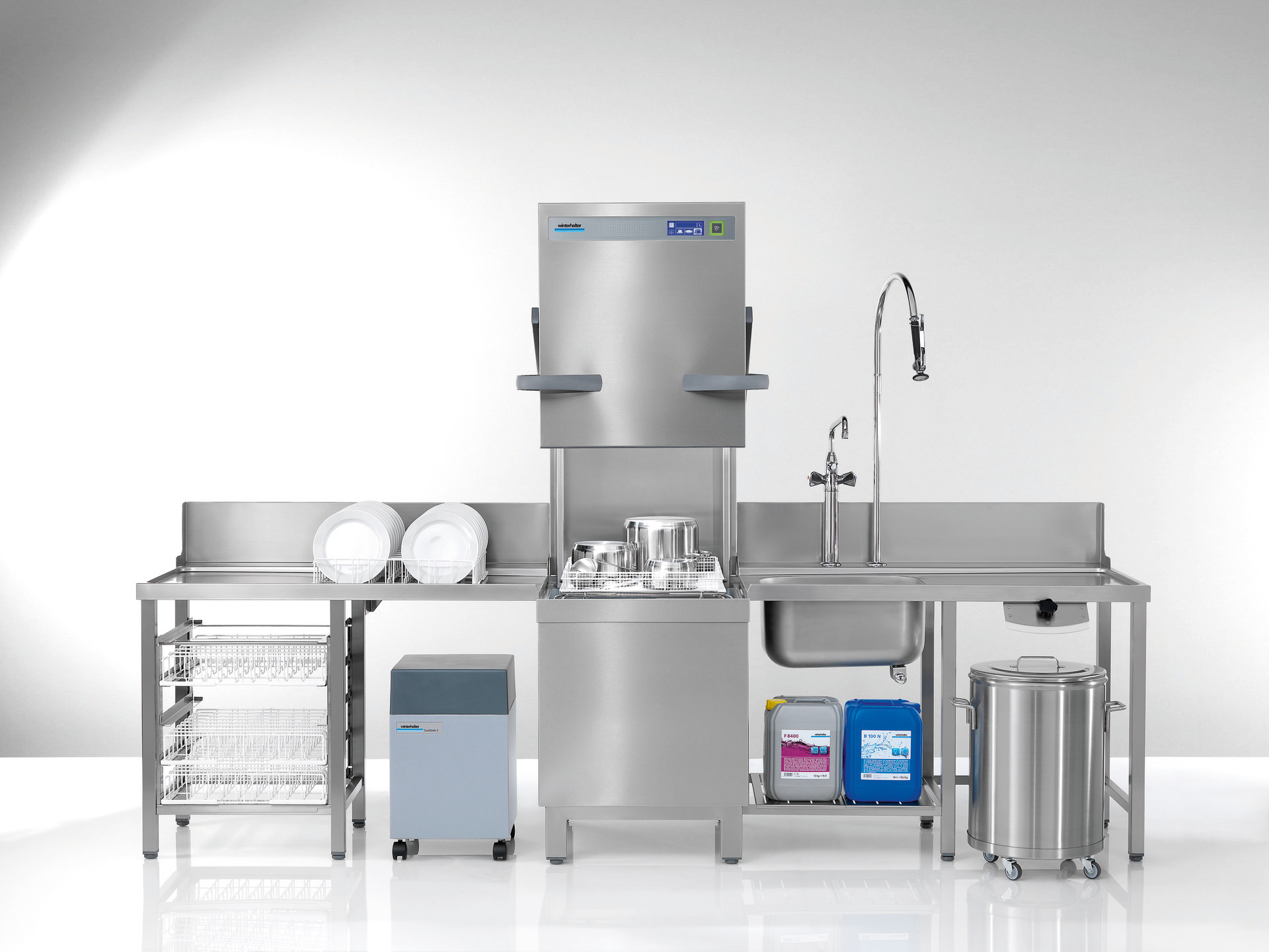 Durchschubspülmaschine PT-M / 500x500 mm mit Klarspüler-/und Reinigerdosiergerät