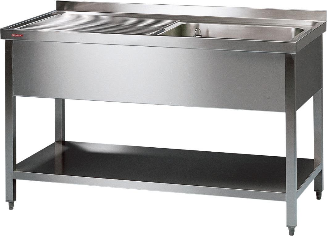 Spültisch mit 1 Becken rechts 500 x 400 x 250 mm ohne Grundboden