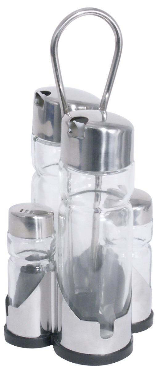 Menage 4-tlg. Salz / Pfeffer / Essig / Öl 95 x 95 x 220 mm hochglänzend