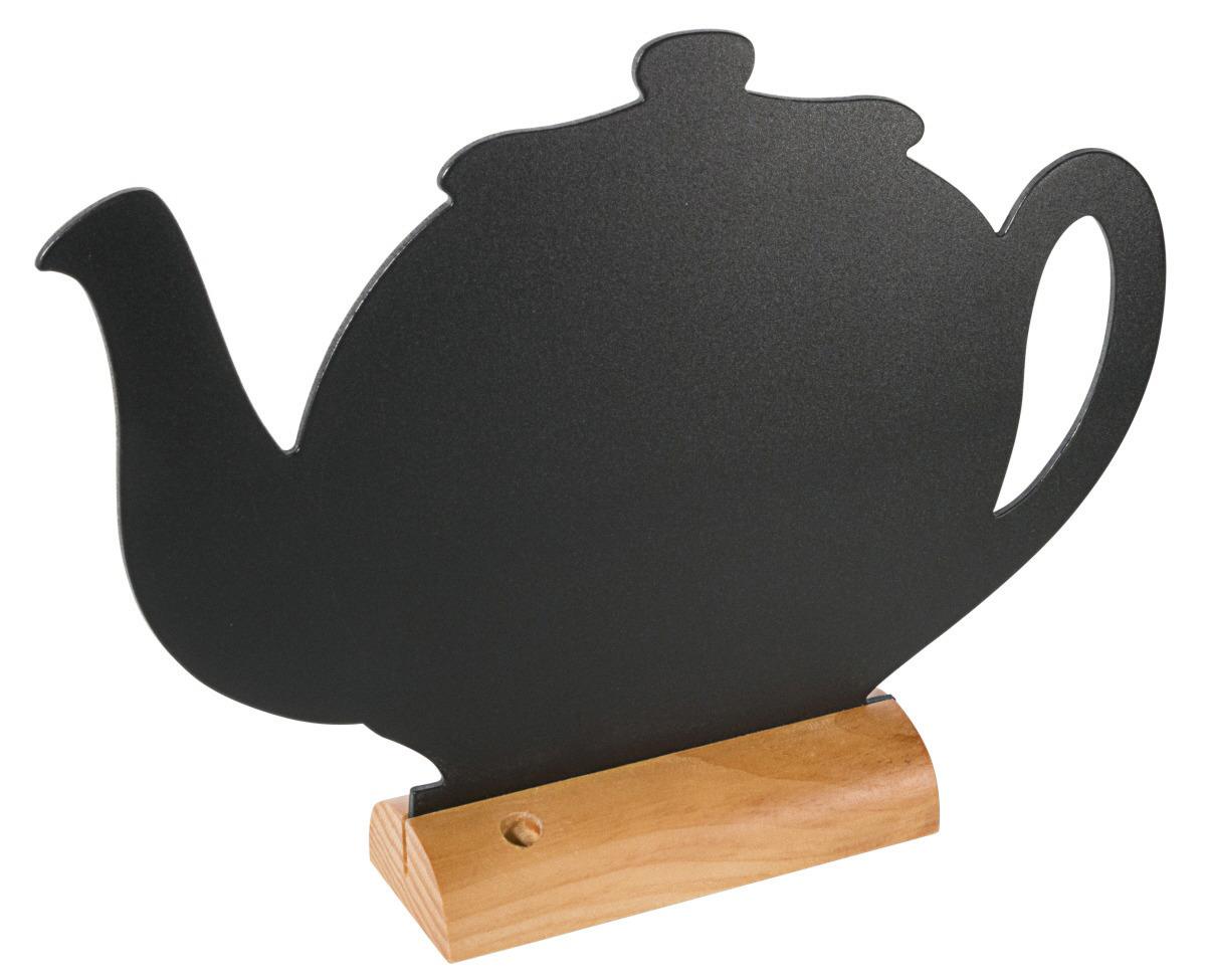 Aufsteller-Tafel 240 x 310 mm schwarz auf lackiertem Holzfuß