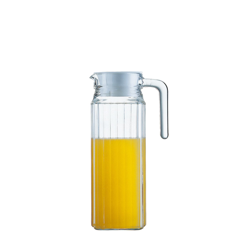 Kühlschrankkrug mit Kunststoffdeckel und Henkel 89 mm / 1,10 l transparent