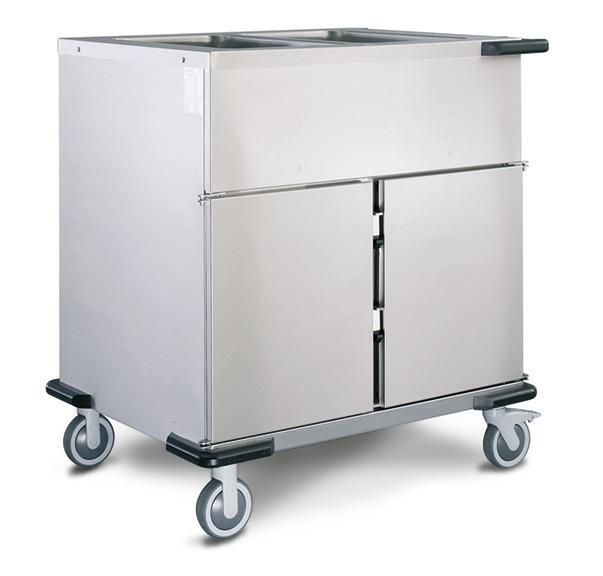 Speisenausgabewagen 2 x GN 1/1 mit Folienheizung und 2 Schrankfächern