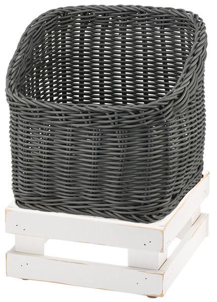 Brotkorb 330 x 330 mm 6,50 l grau /  mit M-Standfuß Vintage White