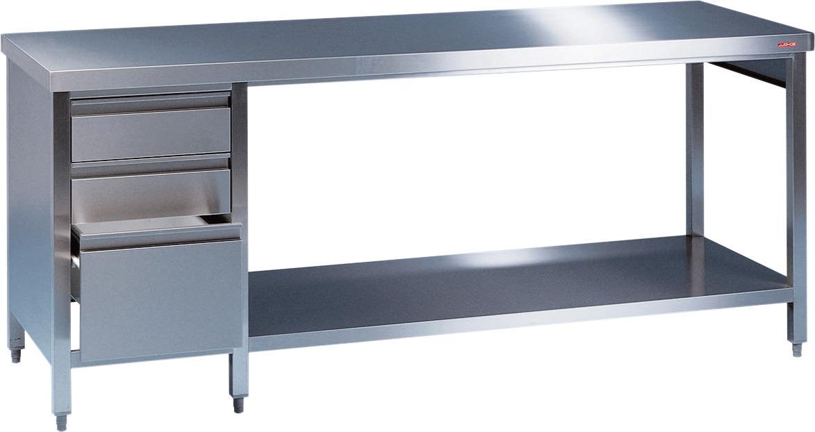 Arbeitstisch + Grundbord + links Schubladenblock 1800 x 800 x 850 mm