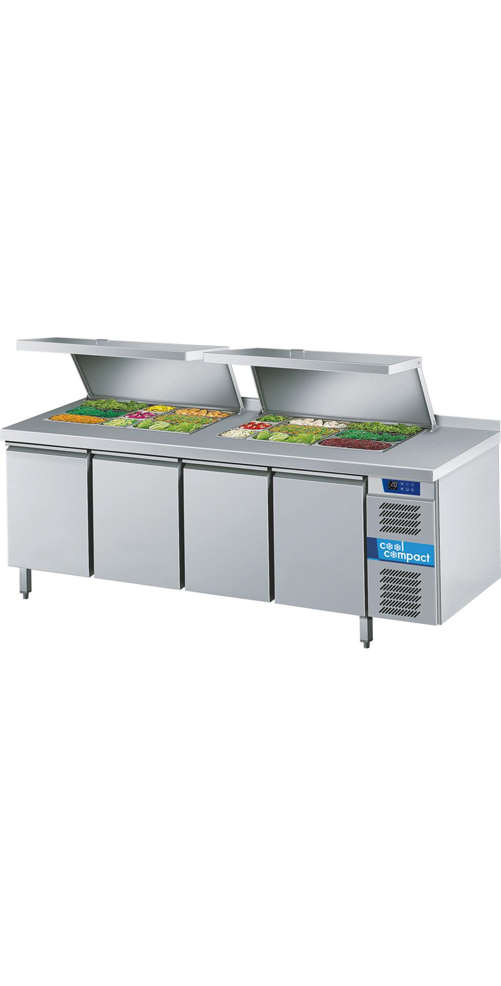Saladette 4 Türen je 8 x GN 1/1 /  ohne Tischplatte / zentralgekühlt