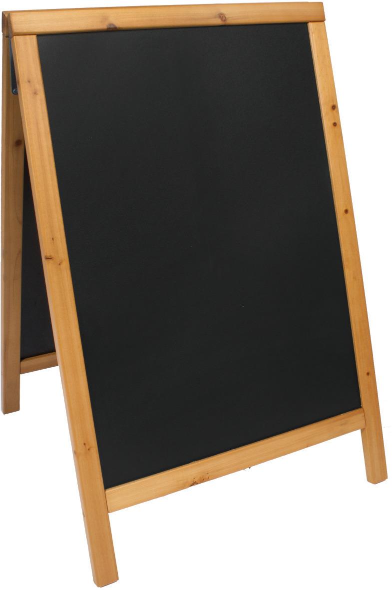 Kundenstopper mit Kreidetafel 55 x 85 mm teak