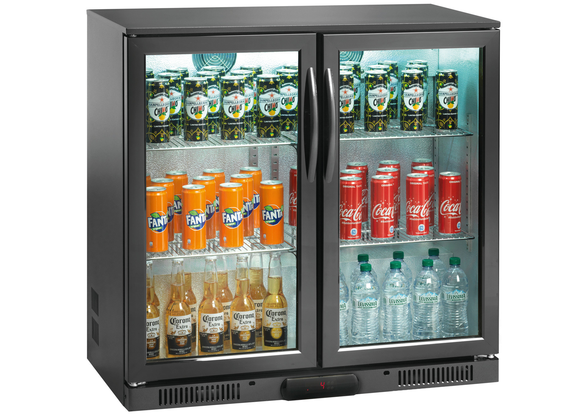 Flaschenkühlschrank 220 l 2 Flügeltüren 4 Roste