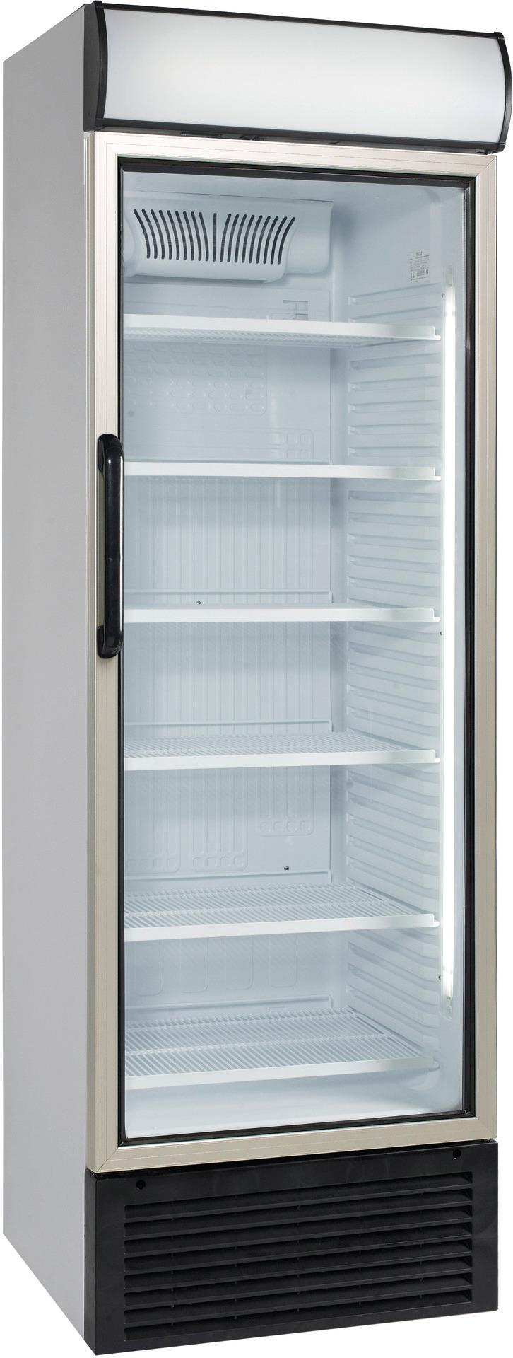 Umluft-Glastürkühlschrank mit Griff  438,00 l / mit Werbe-Display