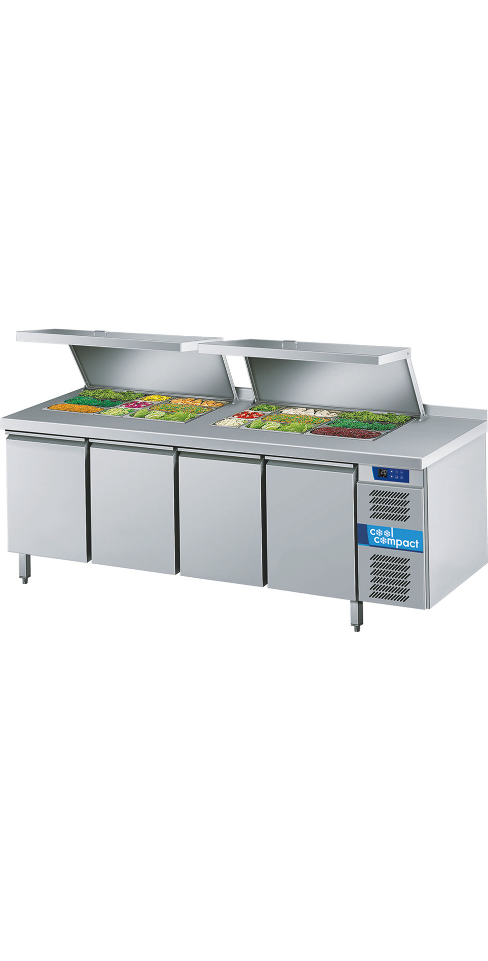 Saladette 4 Türen je 10 x GN 1/1 /  ohne Tischplatte / zentralgekühlt