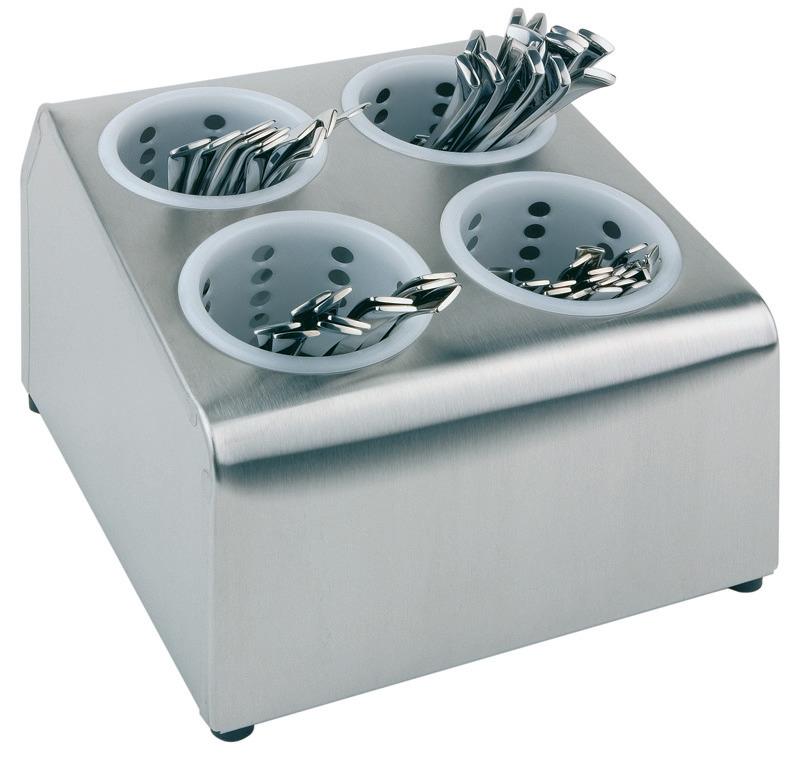 Besteckbehälter 4 Löcher inkl. Köcher 260 x 300 x 200 mm matt poliert