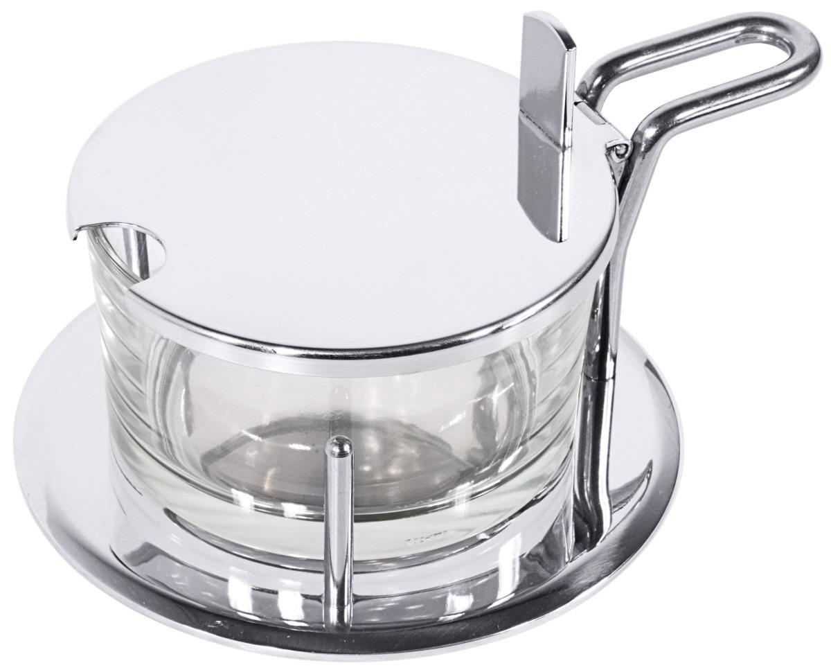Parmesan-Menage 0,20 l / 120 x 60 mm hochglänzend mit schwerem Glaseinsatz