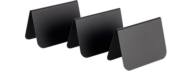Tischaufsteller 10er Set 75 x 35 x 50 mm schwarz Ecken abgerundet