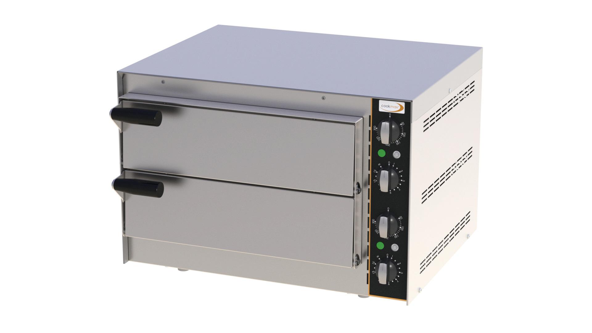 Mini-Pizzaofen 2 Backkammern für 2 Pizzen ø 350 mm / 550 x 430 x 380 mm