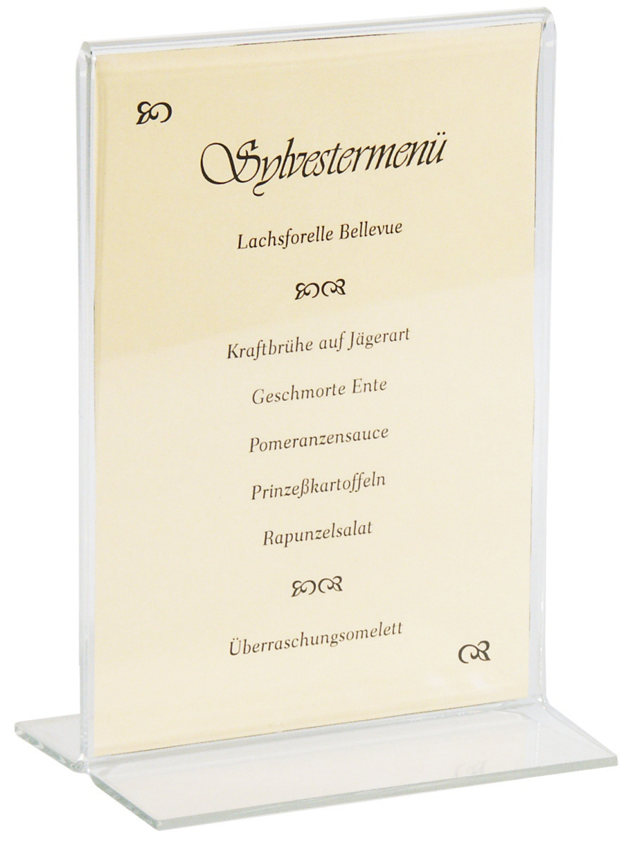 Aufsteller 150 x 220 mm Ausführung DIN A5 / dickes Acrylglas