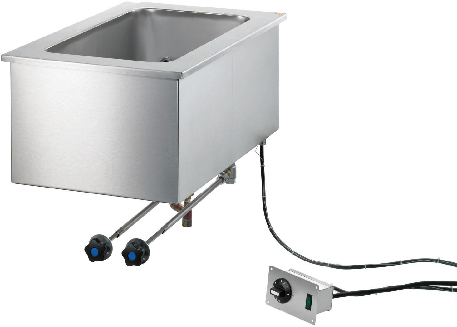 Elektro-Bain Marie Einbaugerät 3 x GN  1/1 - 200 mm tief / stationäre Befüllung
