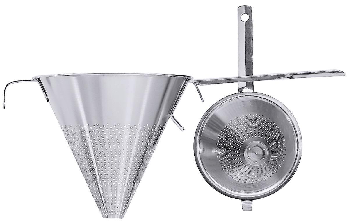 Spitzsieb 3,50 l / 250 mm mit Flachstiel und Stützstiel seidenmatt poliert