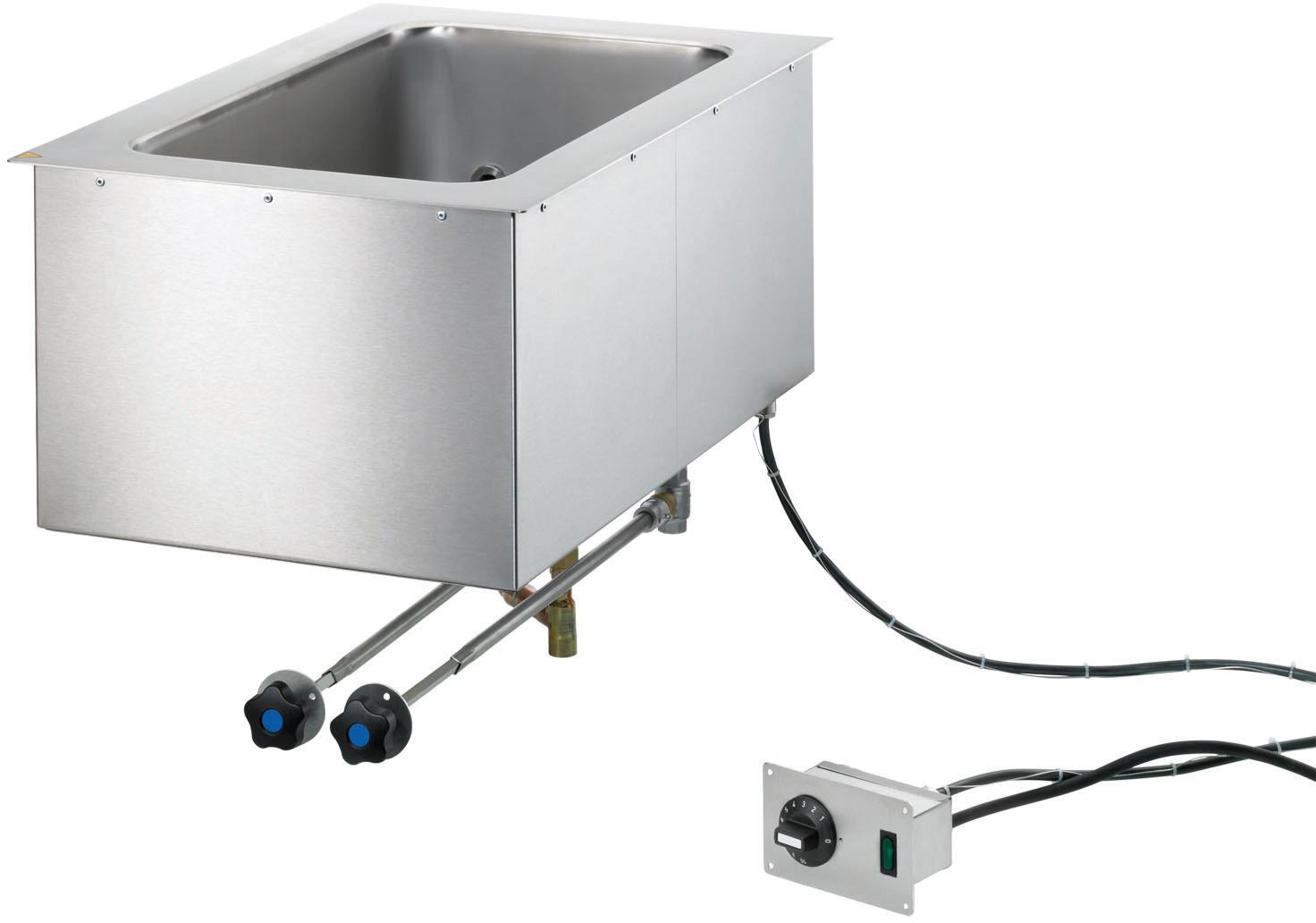 Elektro-Bain Marie Einbaugerät GN 1/1 -  200 mm tief / stationäre Befüllung