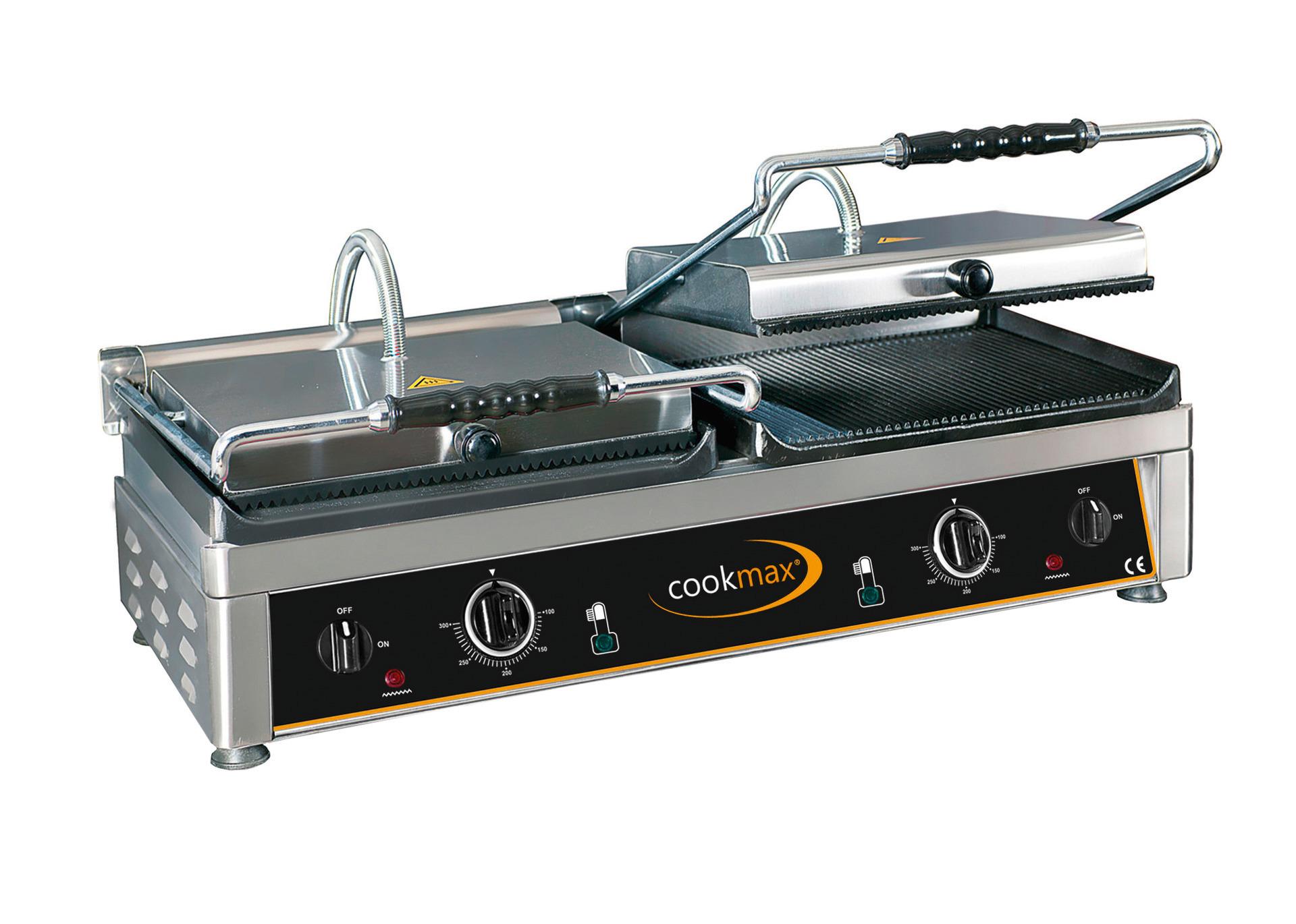 Elektro-Kontaktgrill oben gerillt, unten ½ glatt + ½ gerillt 820 x 500 x 300 mm