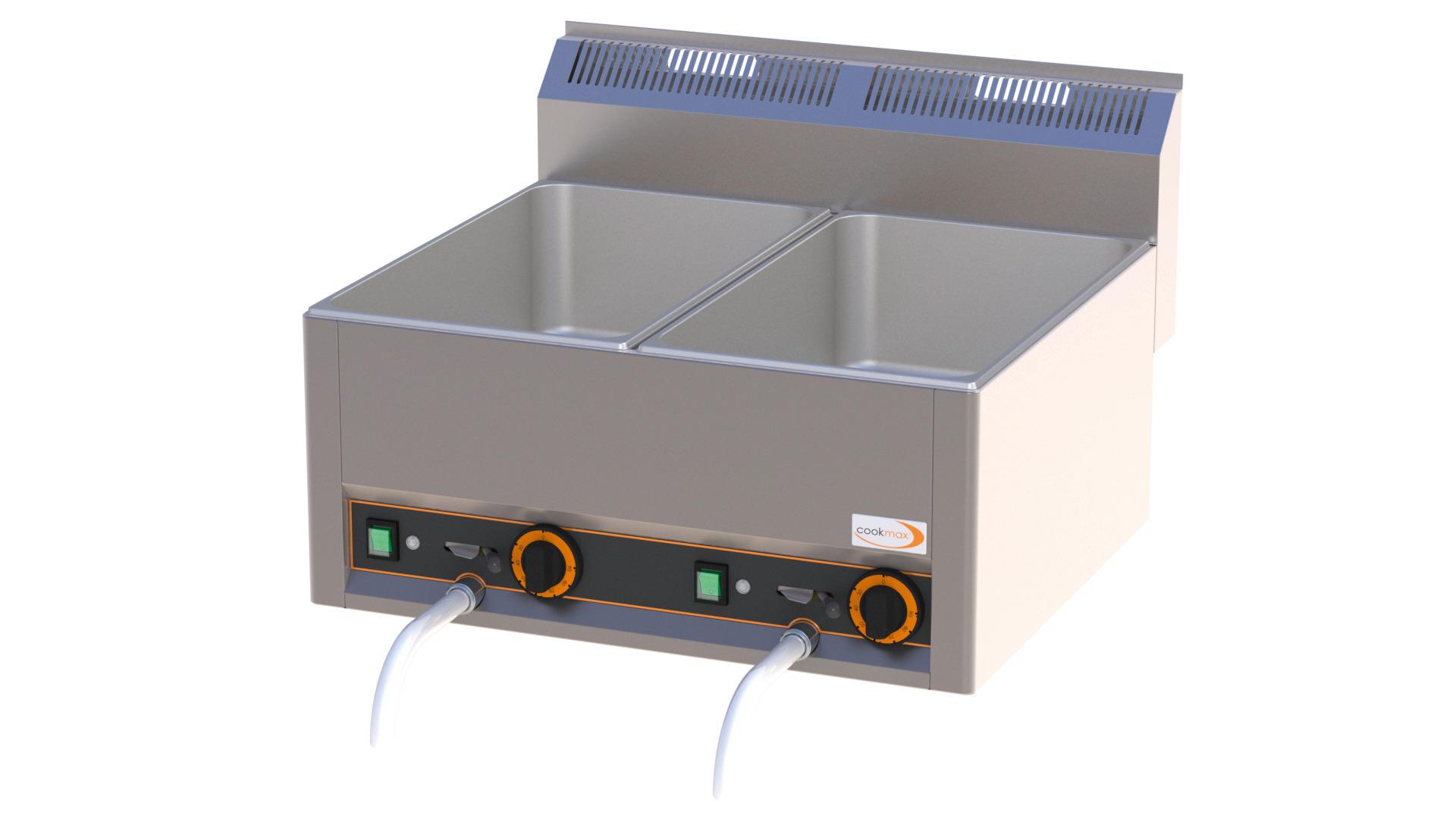 Elektro-Bain-Marie, 2 x GN 1/1 H=150 mm mit Ablaufhahn 660 x 600 x 290 mm