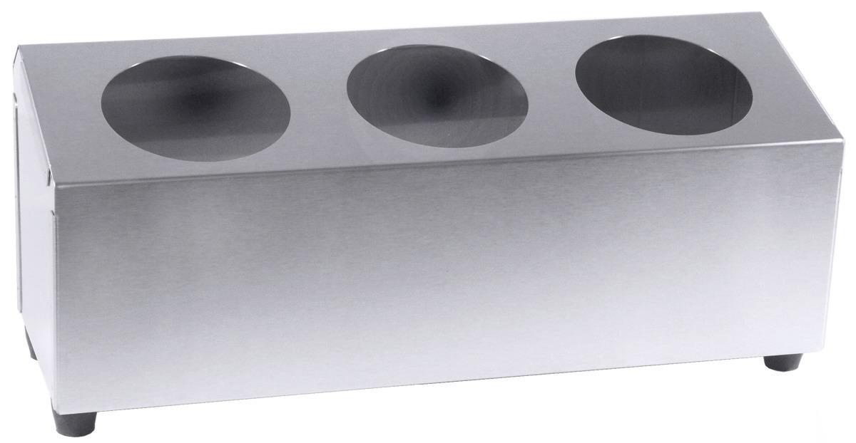 Besteckbehälter für 3 Besteckköcher 425 x 150 x 150 mm seidenmatt poliert