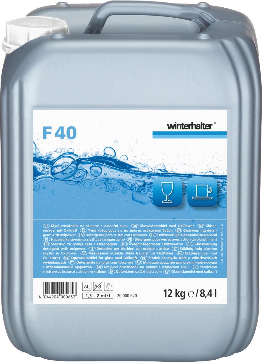Gläserreiniger mit Oxikraft F 40 / 12,00 kg Kanister
