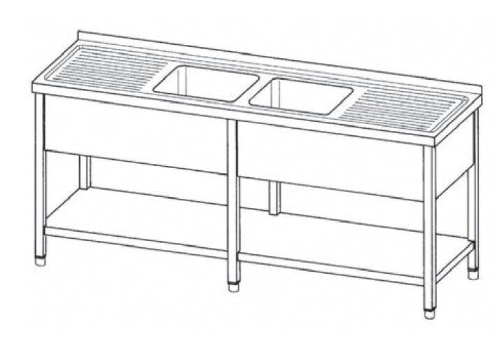 Spültisch mit 2 Becken mittig je 400 x 400 x 250 mm ohne Grundboden