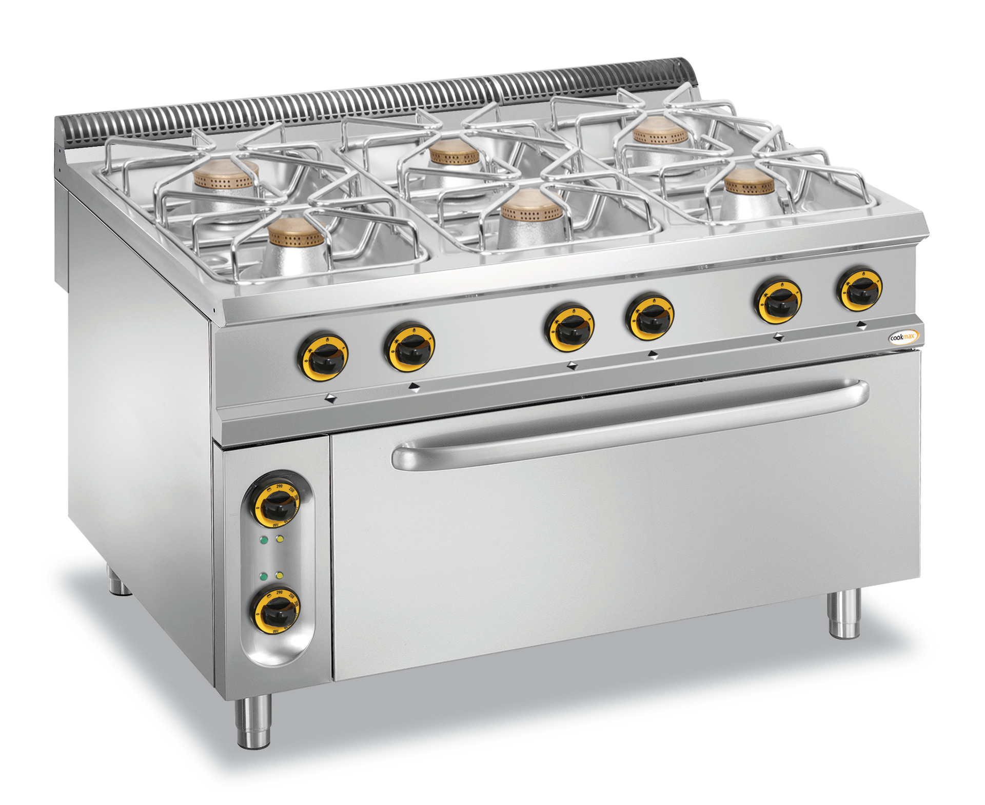 Gas-Herd 6 Brenner Maxi-Gas-Backofen mit Grill 1200 x 900 x 850 mm