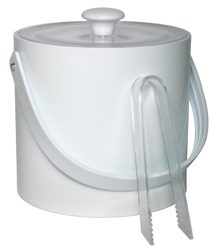 Eiseimer mit Eiszange 3,00 l weißer Kunststoffmantel