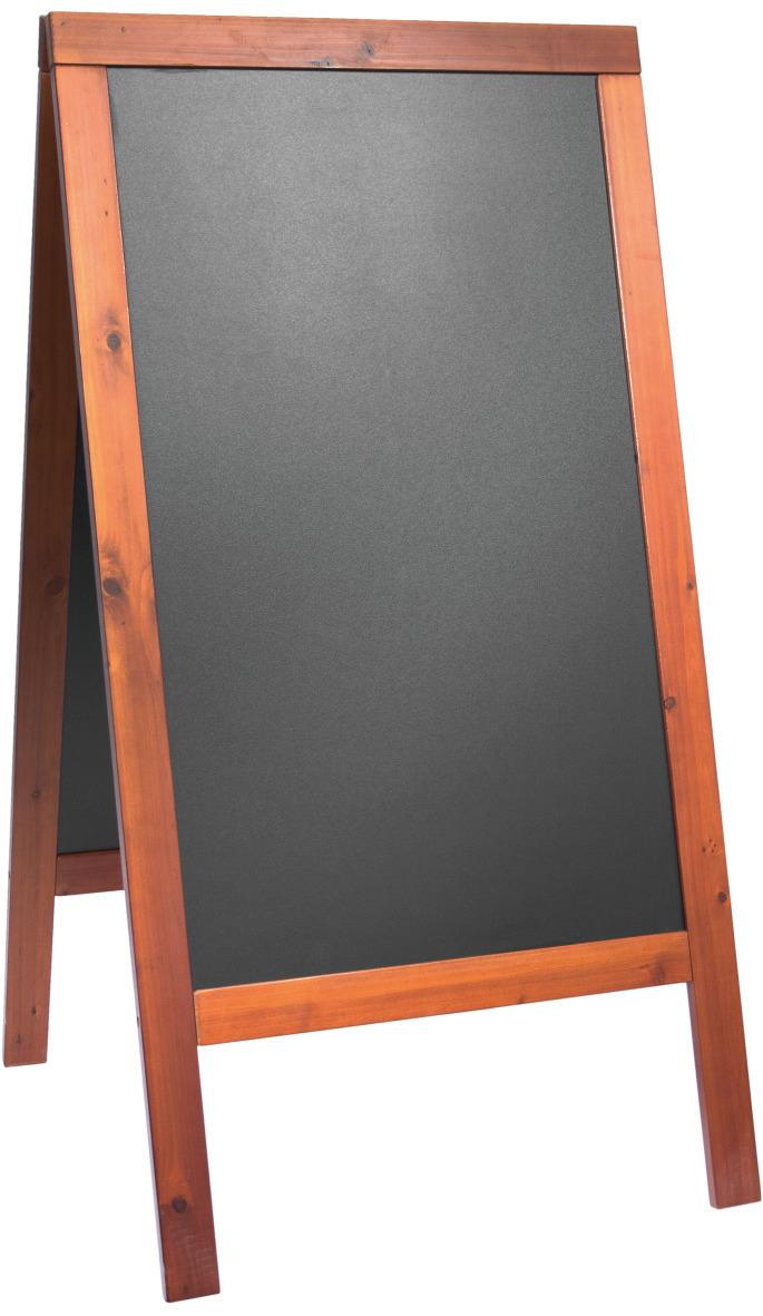 Kundenstopper mit Kreidetafel 680 x 1200 mm mahagoni