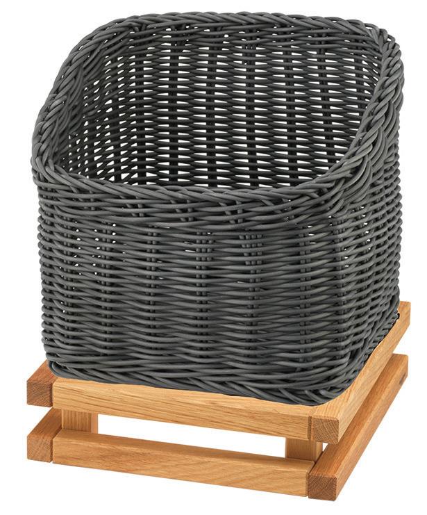 Brotkorb 330 x 330 mm 6,50 l grau /  mit S-Standfuß Oak