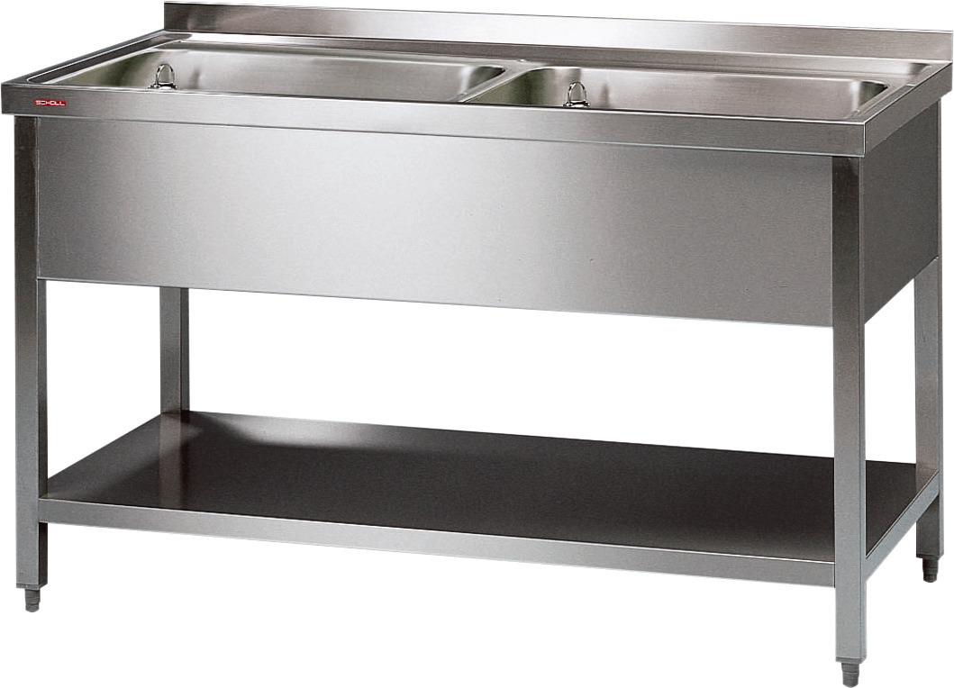 Spültisch mit 2 Becken je 600 x 600 x 300 mm ohne Grundboden