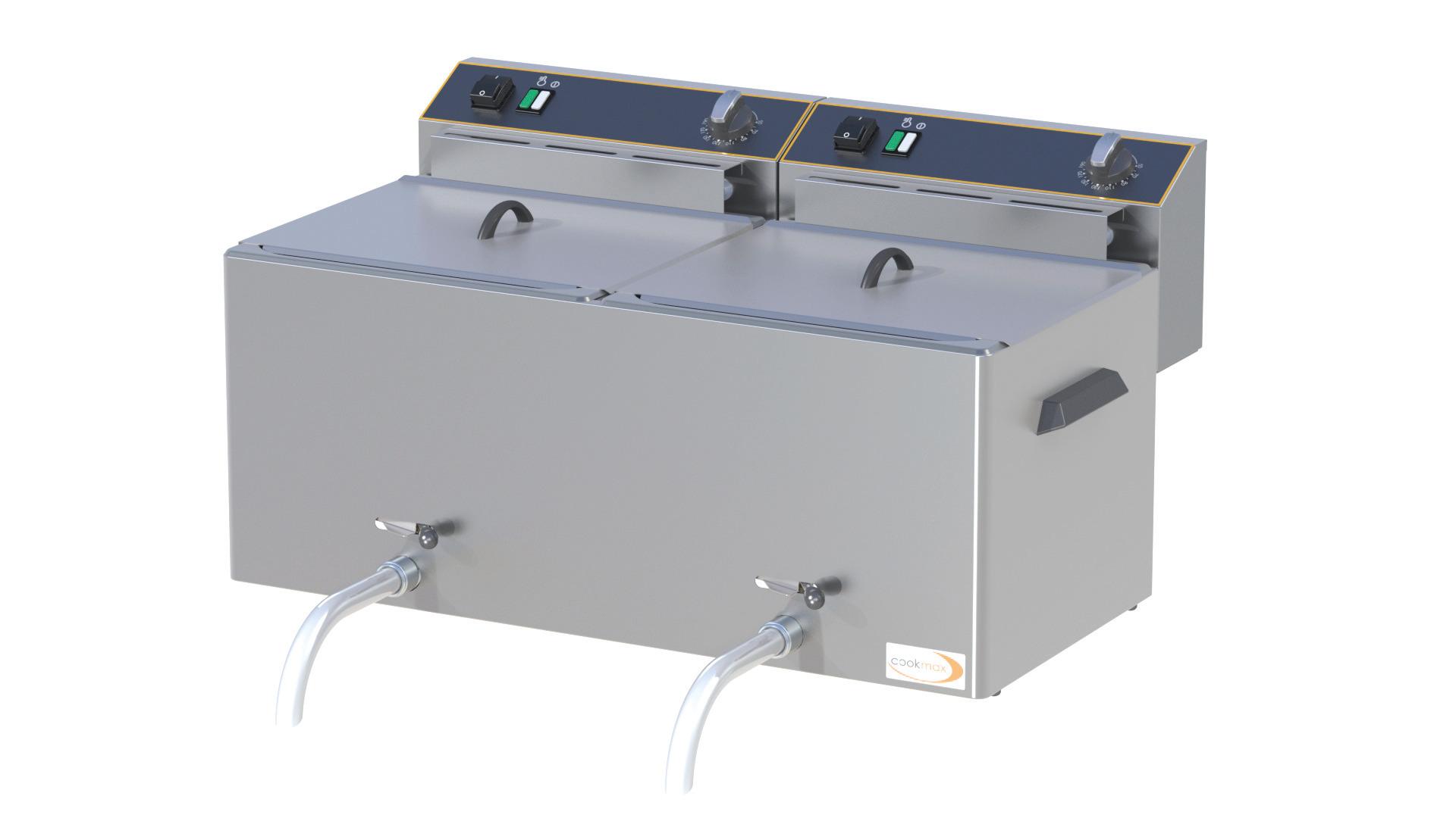 Elektro-Fritteuse, 2x 10 l, mit Ablasshahn