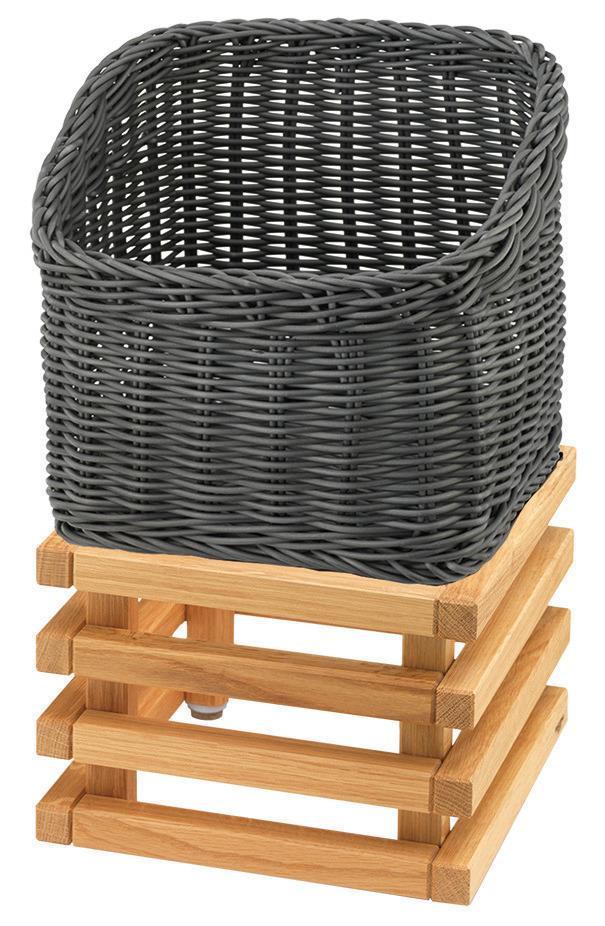 Brotkorb 330 x 330 mm 6,50 l grau /  mit L-Standfuß Oak