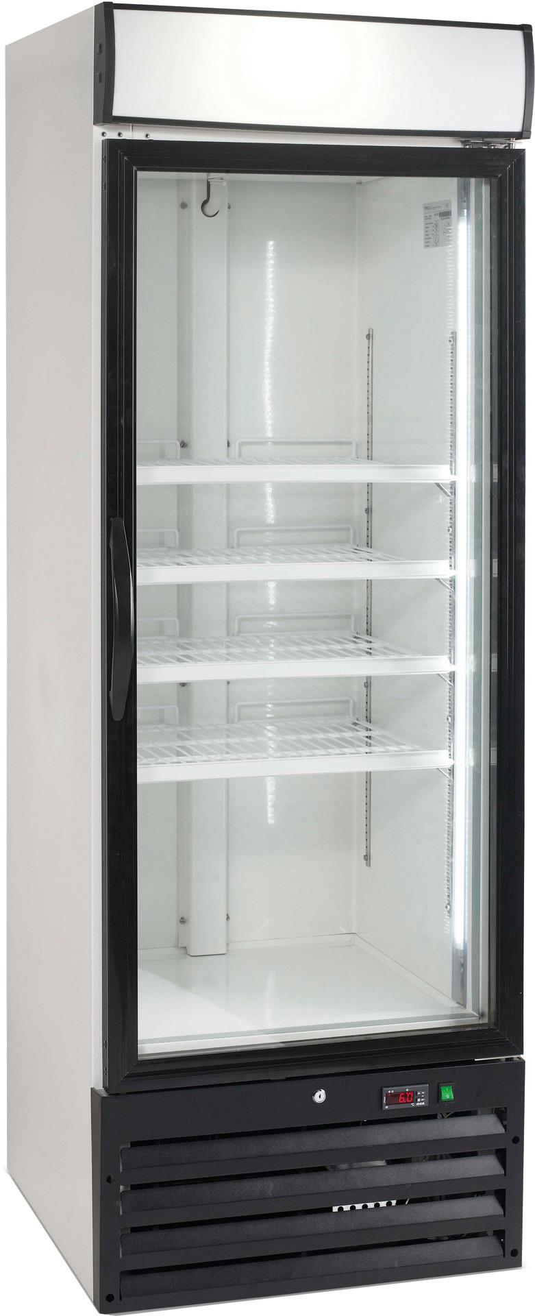 Umluft-Glastürtiefkühlschrank 444,00 l  / mit beleuchtetem Werbe-Display