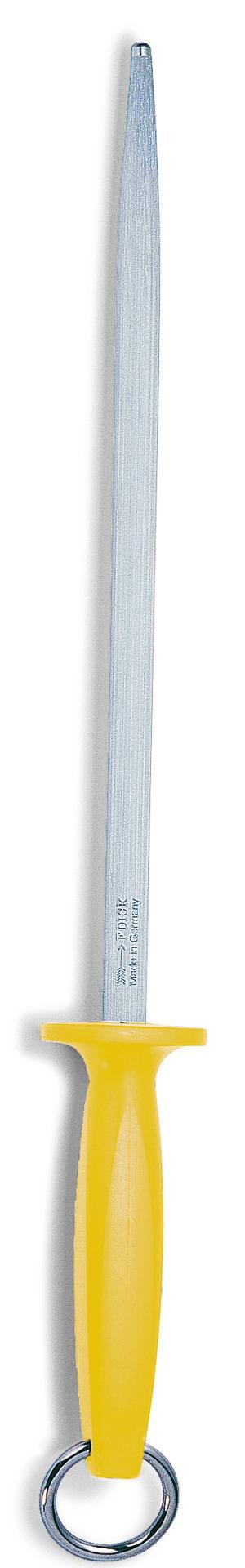 Fleischerwetzstahl rund Klingenlänge 300 mm Standardzug / gelber Griff