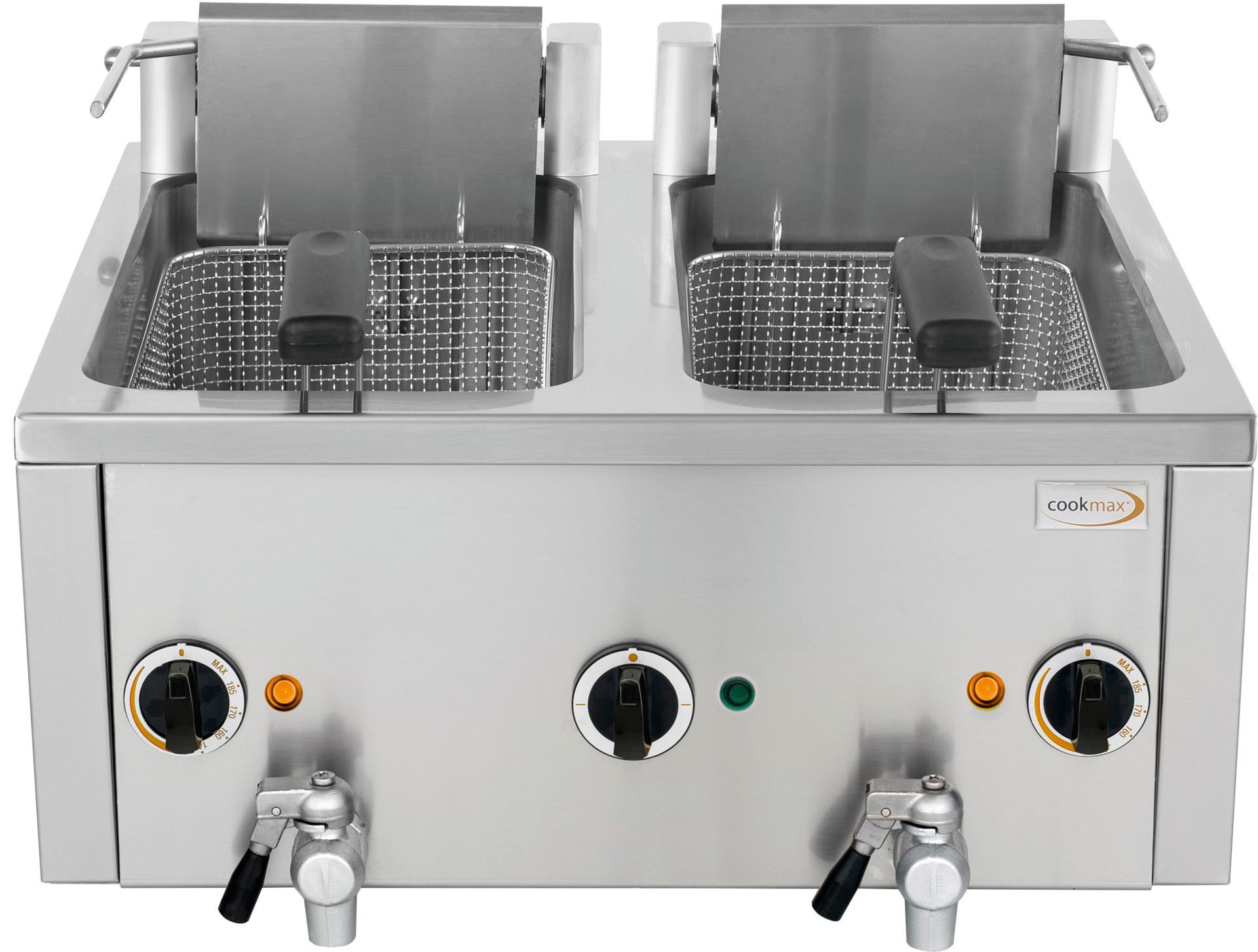 Elektro-Fritteuse 2x 8 l mit Ablasshahn, 400V