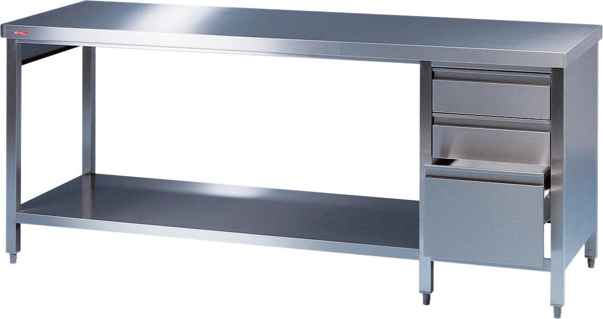 Arbeitstisch + Grundbord + rechts Schubladenblock 2000 x 700 x 850 mm