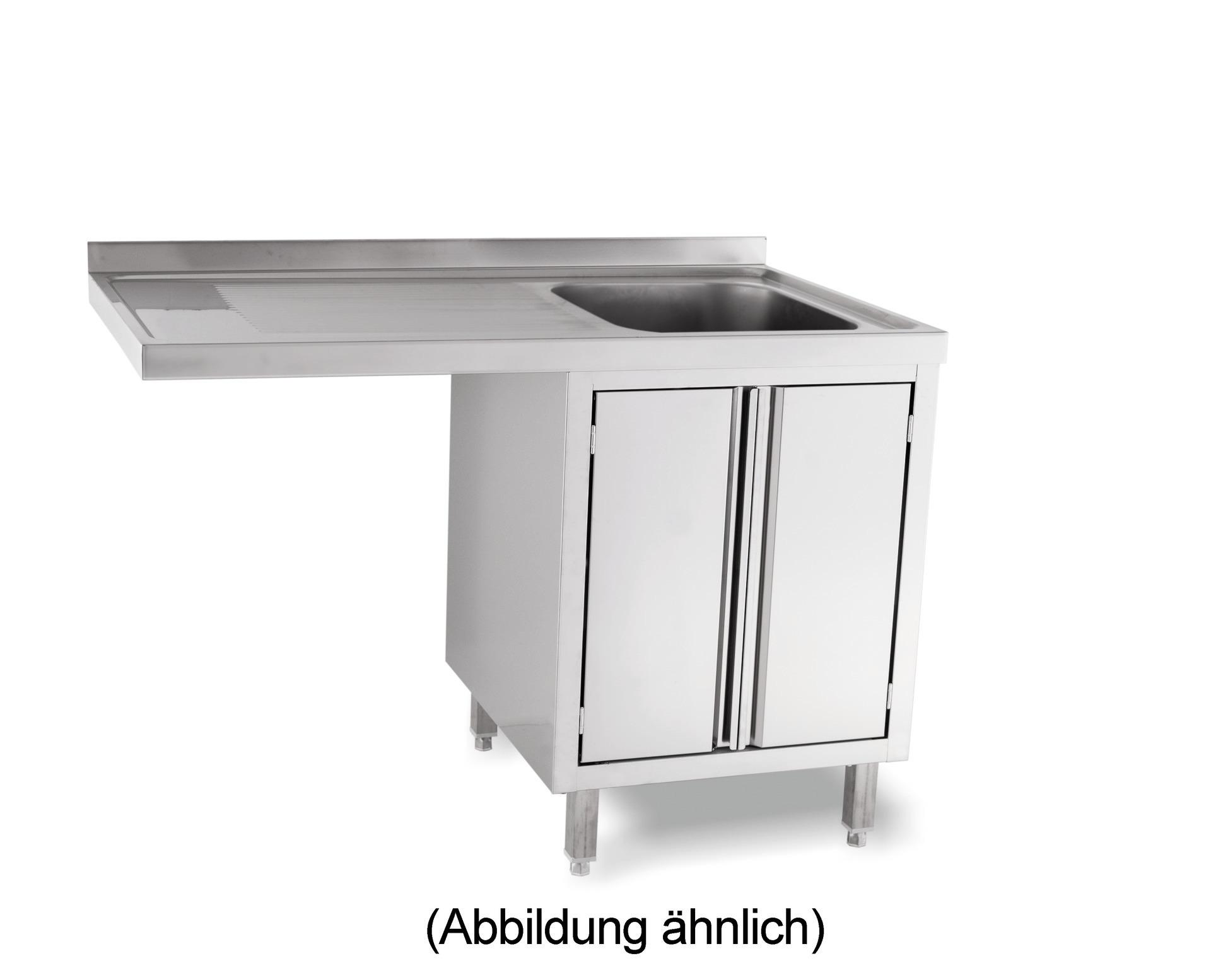 Spülcenterschrank für Spülmaschinen mit 50 mm Aufkantung Türen 2 Becken re.