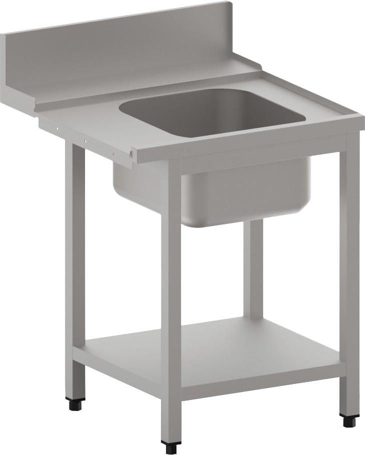 Zulauftisch rechts mit Becken und Ablagebord, 700 mm