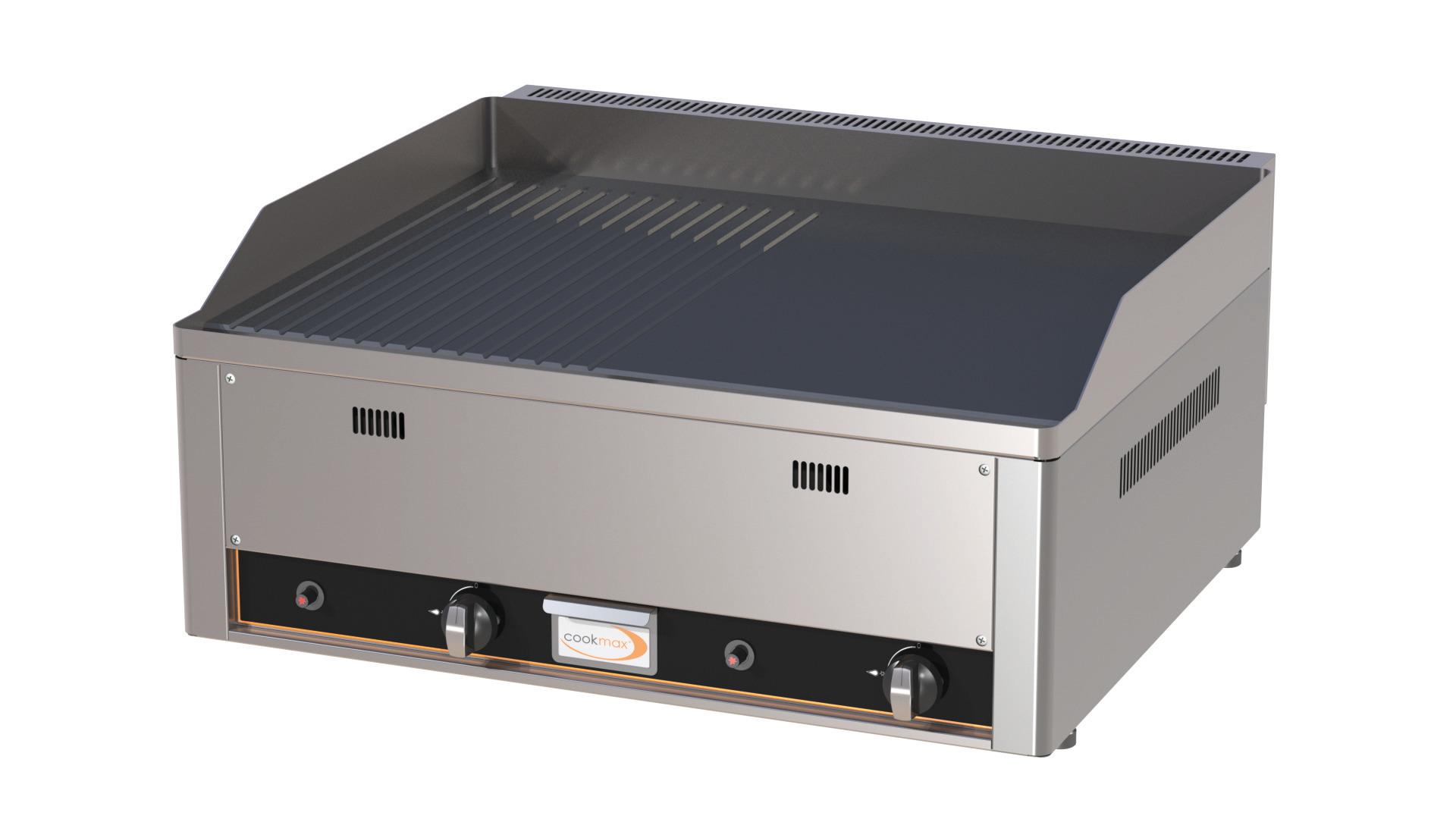 Gas-Grillplatte 1/2 glatt 1/2 gerillt 2 Heizzonen 660 x 600 x 220 mm