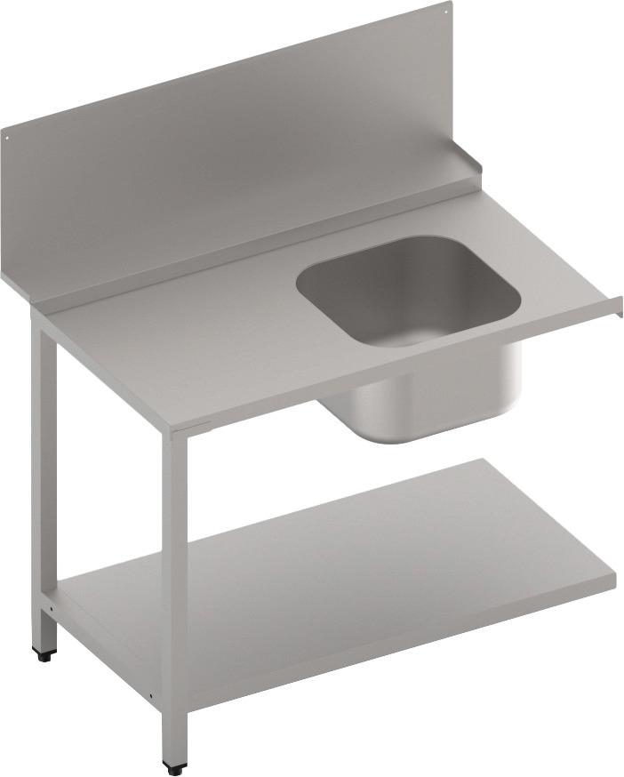 Zulauftisch mit Becken und  Ablagebord 1100 mm breit
