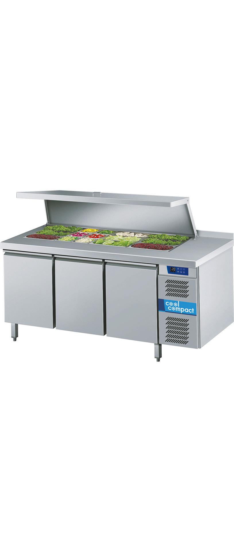 Saladette 3 Türen je 9 x GN 1/1 /  mit Aufkantung / zentralgekühlt